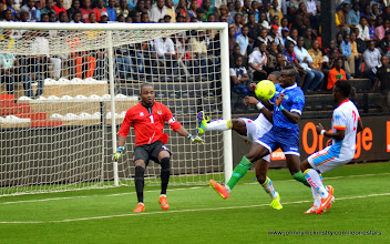 Photo: Alhadji Kamara drives on goal    [Leone Stars v DR Congo, 10 September 2014 (Pic © Darren McKinstry / www.johnnymckinstry.com)]