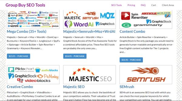 Giao diện của website groupbuyseotools.com