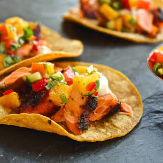 Grilled Salmon Tacos With Peach & Cucumber Salsa.