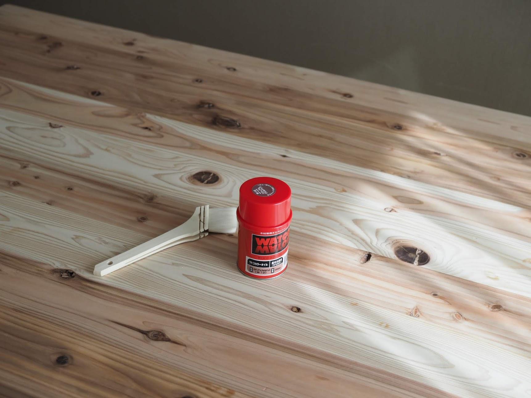 WATCOオイルを塗る前の杉ムク材