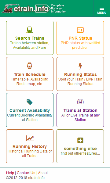 Indian Railways @etrain info – (Android Apps) — AppAgg