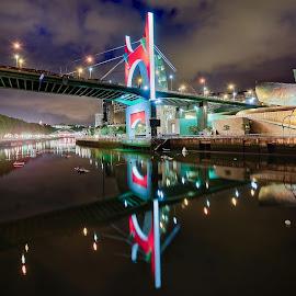 Night in Bilbao, Spain by Michaela Firešová - City,  Street & Park  Night ( spain, reflection, night, river, brigde, bilbao, lights )