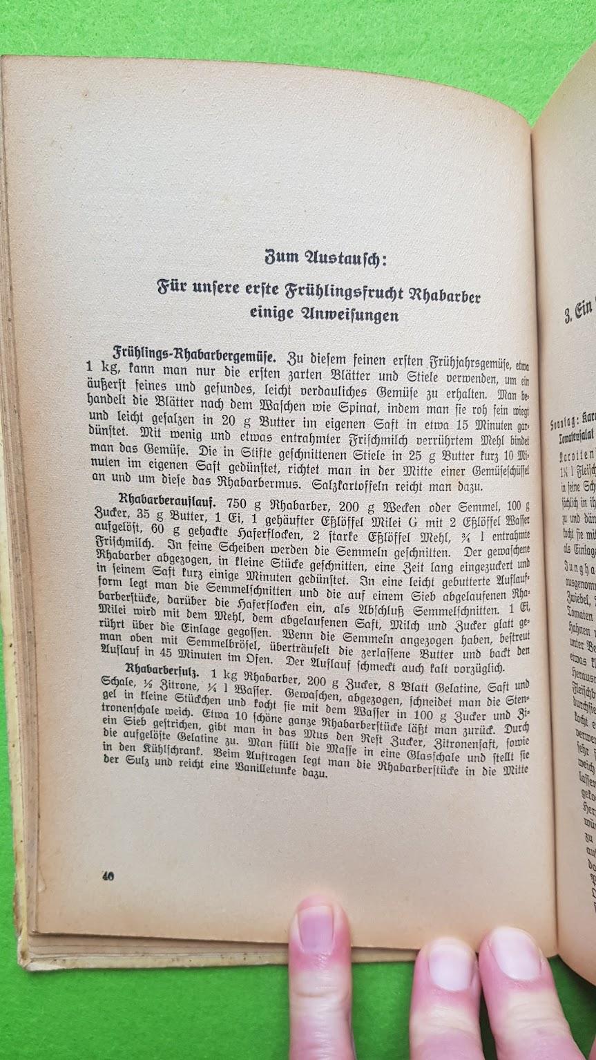Eugen Bechtel, Nahrhaft, schmackhaft kochen - auch im Krieg!, 1940 - Rhabarber