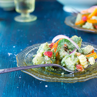Dill Pesto Potato Salad with Roasted Red Bell Peppers