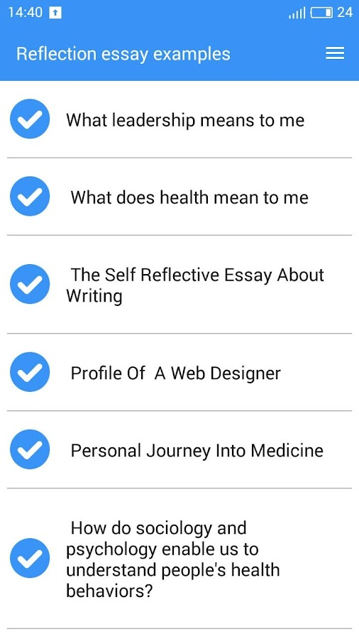 reflection essay examples screenshot - Examples Of Self Reflection Essay