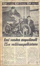 Photo: Tunturi Trial -59 ensimmäinen esiintyminen Turun Sanomissa keväällä 59