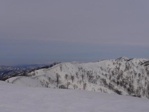 県境稜線は更に北へ(右手前が三国岳)
