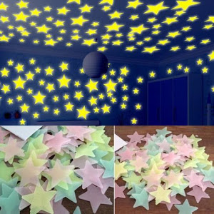Set 100 stelute fosforescente, lumineaza in intuneric