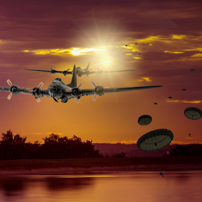 the drop by Peter Wyatt - Digital Art Abstract ( sunset, b17 bomber, bomber, lake, sunrise, raf, para )