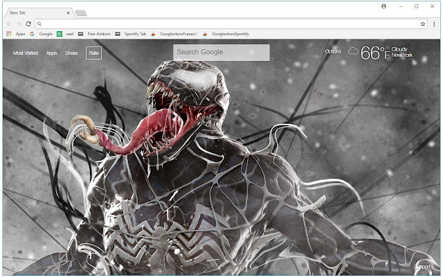 Venom Hd Wallpaper New Tab Themes Free Addons