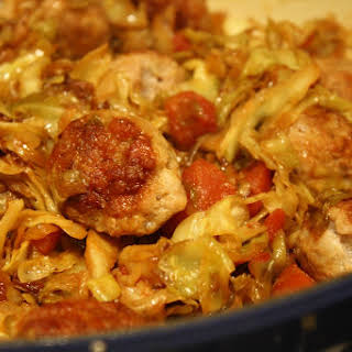 """Sausage """"meatballs"""" With Tomatoes + Braised Cabbage."""