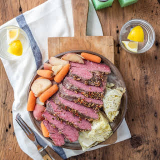 Traditional Slow Cooker Corned Beef and Cabbage.