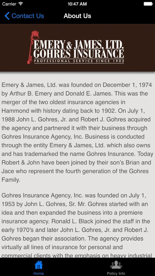 Emery & James Insurance- screenshot