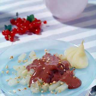 Marinierte Birnen mit Schoko-Pudding