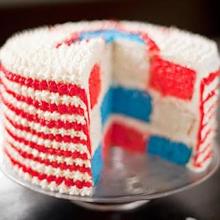 Red, White and Blue Velvet Cake.