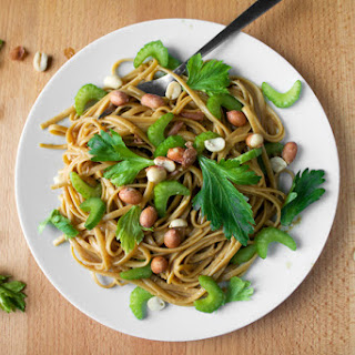Peanut Noodles With Celery Leaves