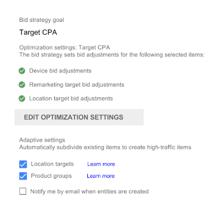 Bid strategy goal section in campaign settings. Includes Adaptive settings section with red rectangle and Location targets and Product groups check boxes selected.