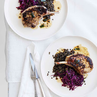 Mustard And Sage Pork Cutlets With Red Wine Cabbage And Lentils.
