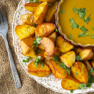 Roasted Potatoes with a Coconut Curry Dipping Sauce.