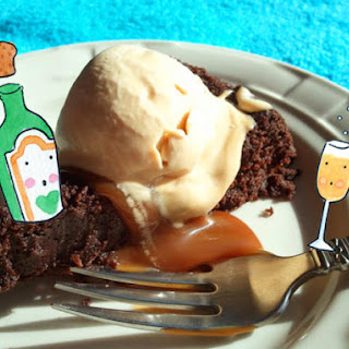 Almost Flourless Chocolate Cake With Dulce De Leche.