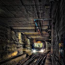 Underground Labrinyth by Garry Dosa - Transportation Trains ( translink, mystery, railway tracks, underground, mysterious, transit, lights, colours, train )