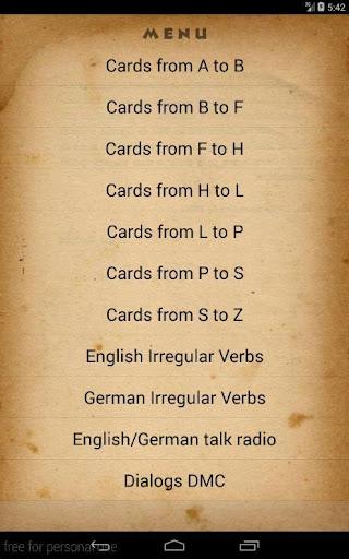 Deutsch Englisch words cards