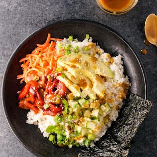 Vegan Sushi Bowls with Soy-Ginger Dressing.