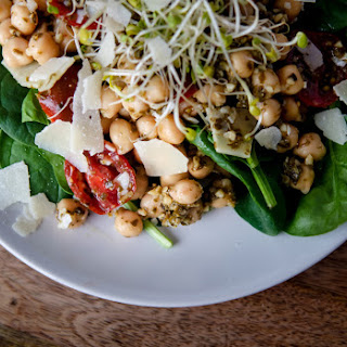 Chickpea Pesto Salad with Fresh Parmesan