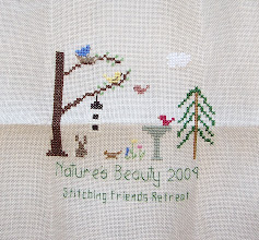 Photo: Completed 22 Jan 2010. Stitching Friends Retreat Sampler (2009). From A Stitcher's Garden stitched using DMC on linen.