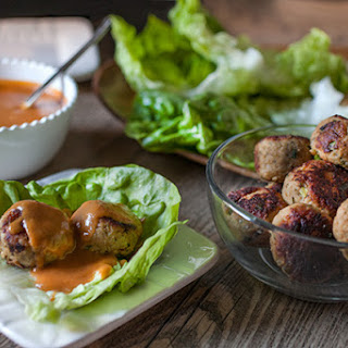Asian Chicken Meatballs with Spicy Peanut Sauce.