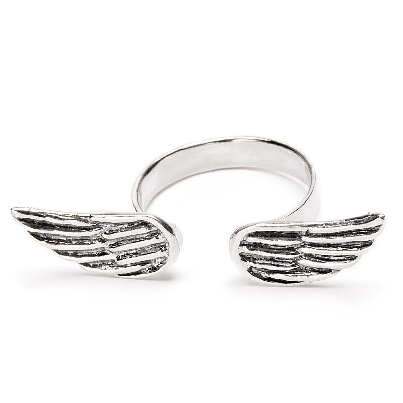 Silverring med änglavingar