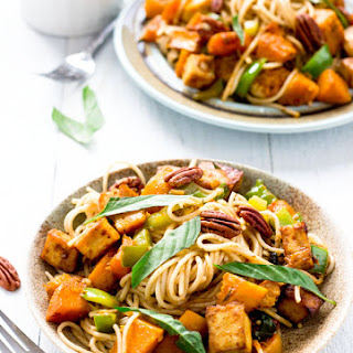 Basil and Roasted Butternut Squash with Spaghetti.