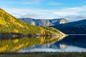 Photo: A calm day by the fjord inside the tidal current Åselistraumen, South of Bodø, Northern Norway.