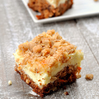 Gluten Free Carrot Cake Cheesecake Bars.