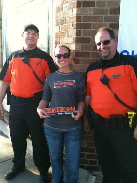 "Photo: Street Team girl Candy reminds you to always ""WATCH FOR MOTORCYCLES!"" at the Tomahawk Fall Ride"