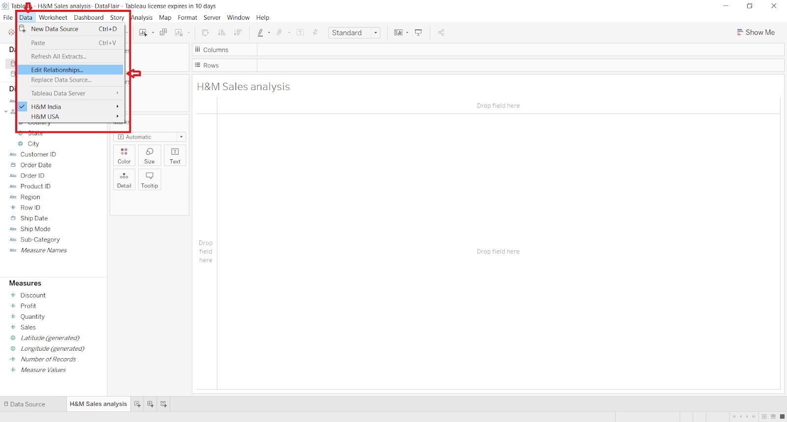edit relationship in tableau data blending