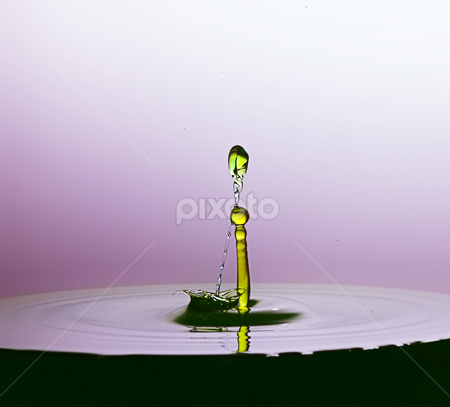 green waterdrops isolated purple background by Ismed  Hasibuan  - Abstract Water Drops & Splashes ( water, abstract, unique, purple, green, waterdrops )