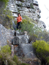 Photo: Step up blocks at end of ledge to access Kasteels gully