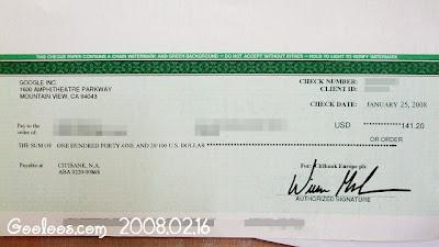 [炫耀]收到第一張GoogleAdsence支票與2007年廣告利益揭載