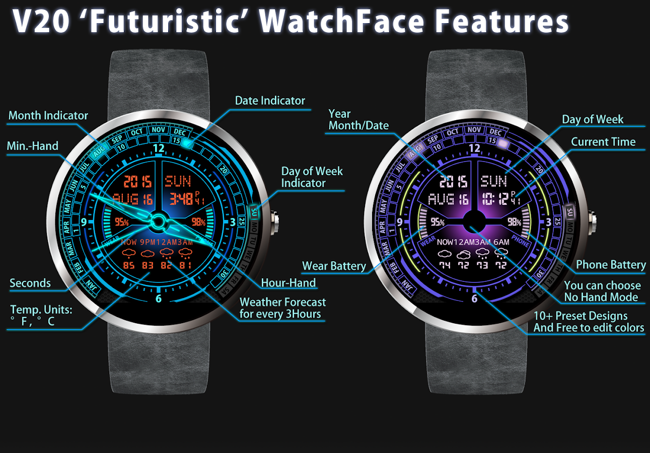 Faces for moto 360 - V20 Watch Face For Moto 360 Screenshot