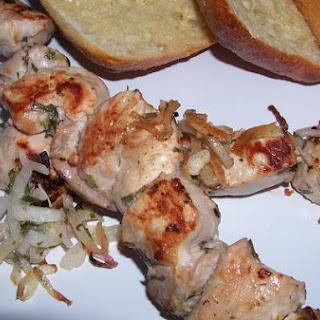 Grilled Pork Skewers with Tarragon Dressing.