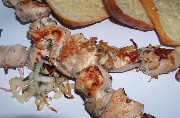 Grilled Pork Skewers with Tarragon Dressing Recipe