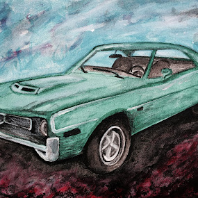 AMC Javelin by Raymond Paul - Illustration Products & Objects ( muscle car, javelin, vintage, sports car, illustration, art, amc, fast, andy warhol )