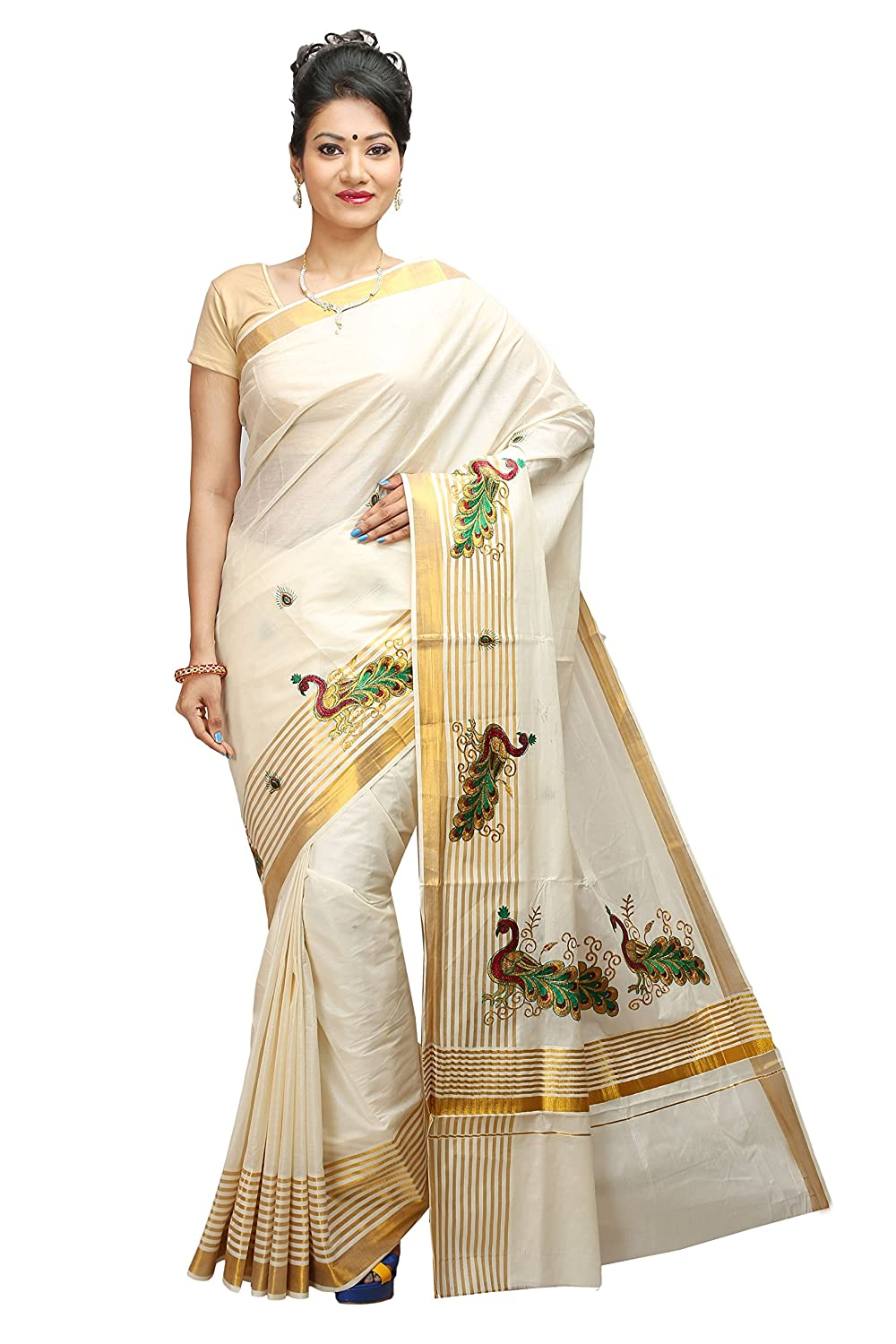 Embroidered Kerala Kasavu Saree