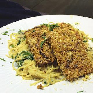 Parmesan Crusted Tofu w/ Creamy Mushroom & Spinach Spaghetti.