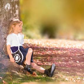 A walk in the park by Nistorescu Alexandru - Digital Art People ( #child, #lovely, #model, #bokeh, #sunnyday, #future )