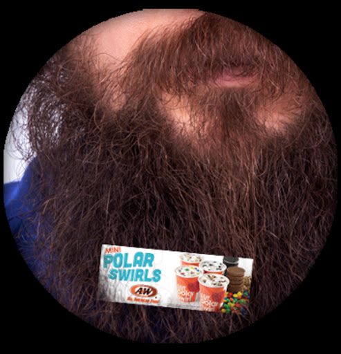 'Beardvertising' via a clip-on mini billboard on a man's beard. The new concept sees companies paying bearded people to advertise their product on their beards.