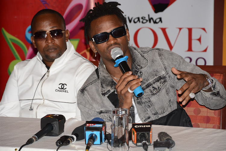 Tanzanian singer Diamond (in sunglasses) during a media briefing in Enashipai Spa in Naivasha. The festival will be held in Hell's Gate National Park on Saturday.