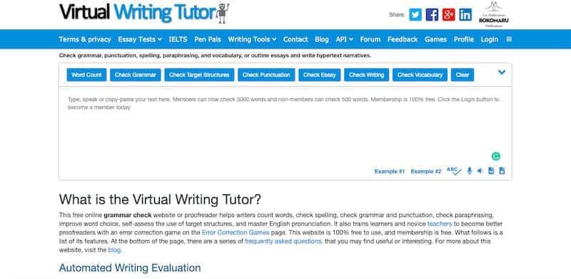 Virtual Writing Tool - free grammar checker tool