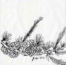 """Photo: """"branche de mélèze"""" encre de chine sur papier de murier , petit format"""